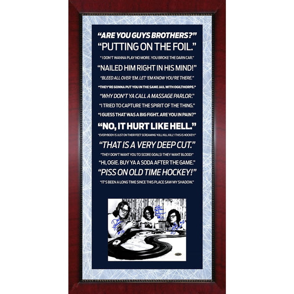 Slapshot Movie Quotes Framed 16x32 Collage with Signed Hanson Brothers 8x10  Photo