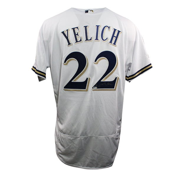 0969dd7b6 Christian Yelich Milwaukee Brewers Signed White Majestic Authentic Fle –  Steiner Sports
