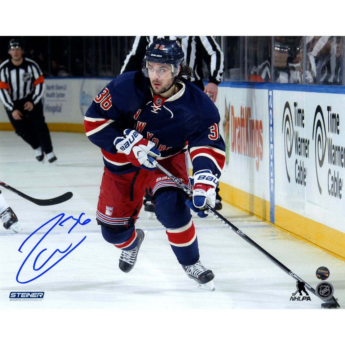 239e0b6a4 Mats Zuccarello Signed skates with the puck in Heritage Jersey 8x10 Photo  ...