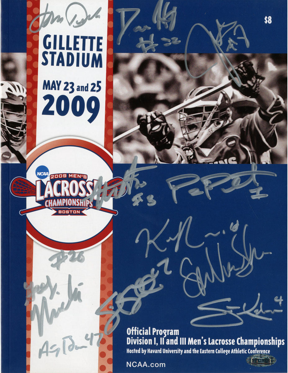 2009 Men's Lacrosse Final 4 Program- 11 Sigs This 2009 Men's Lacrosse Final 4 Program has been personally hand-signed by some of the members of the 2009 Syracuse Men's Lacrosse team. It would make a great addition to any fan's collection.100% Guaranteed AuthenticIncludes Steiner Sports Certificate o