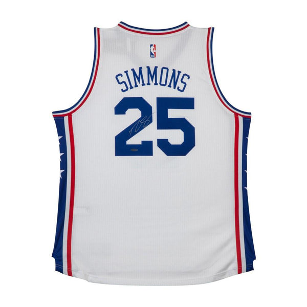 new arrival 949d0 e7d32 Ben Simmons Philadelphia 76ers Signed White Home Jersey