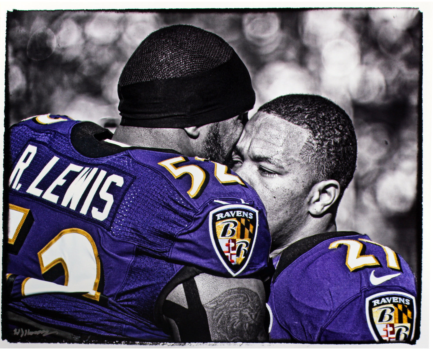 Ray Lewis and Ray Rice B W with Color Accents Hugging 16x20 Uns Hauser  Photo (Signed by William Hauser) ... 6846674e8