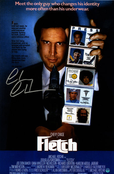 chevy chase signed fletch 11x17 movie poster steiner sports