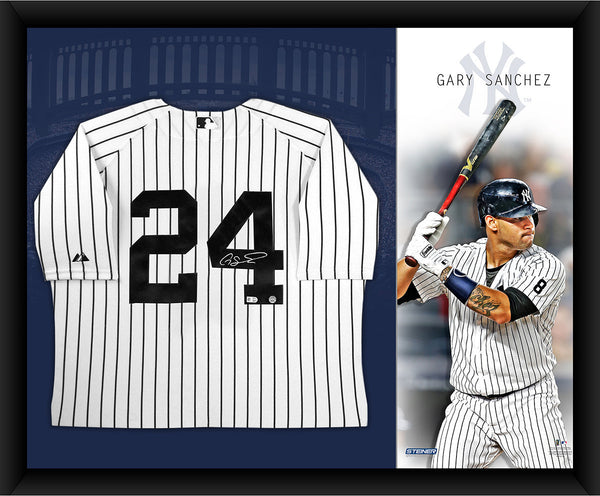 a9dfe38b27d Gary Sanchez Signed New York Yankees Home Jersey Framed 32x40 w  Canva – Steiner  Sports
