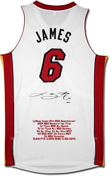 huge discount 1408d f6011 LeBron James Autographed Miami Heat Authentic Addidas White/Home Jersey  with 10th Anniversary Stats Embroidery - Limited to 25