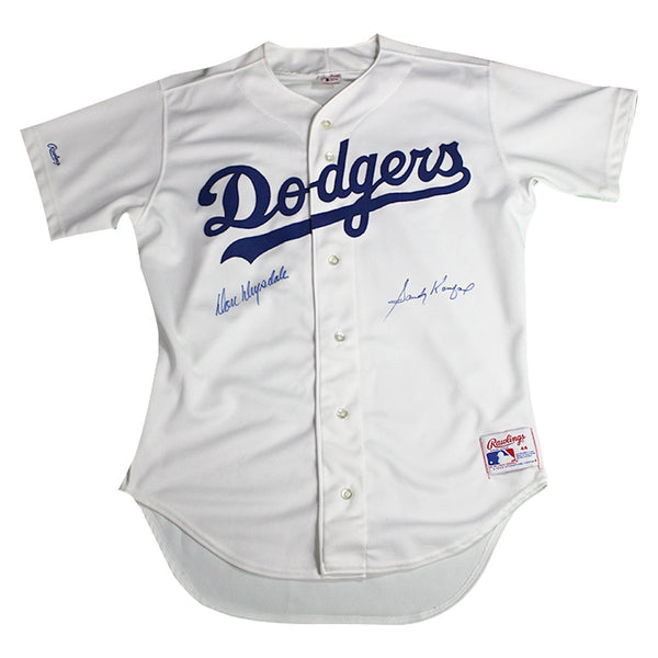 8806cb33a62 Sandy Koufax and Don Drysdale Dual Signed Los Angeles Dodgers Jersey ...