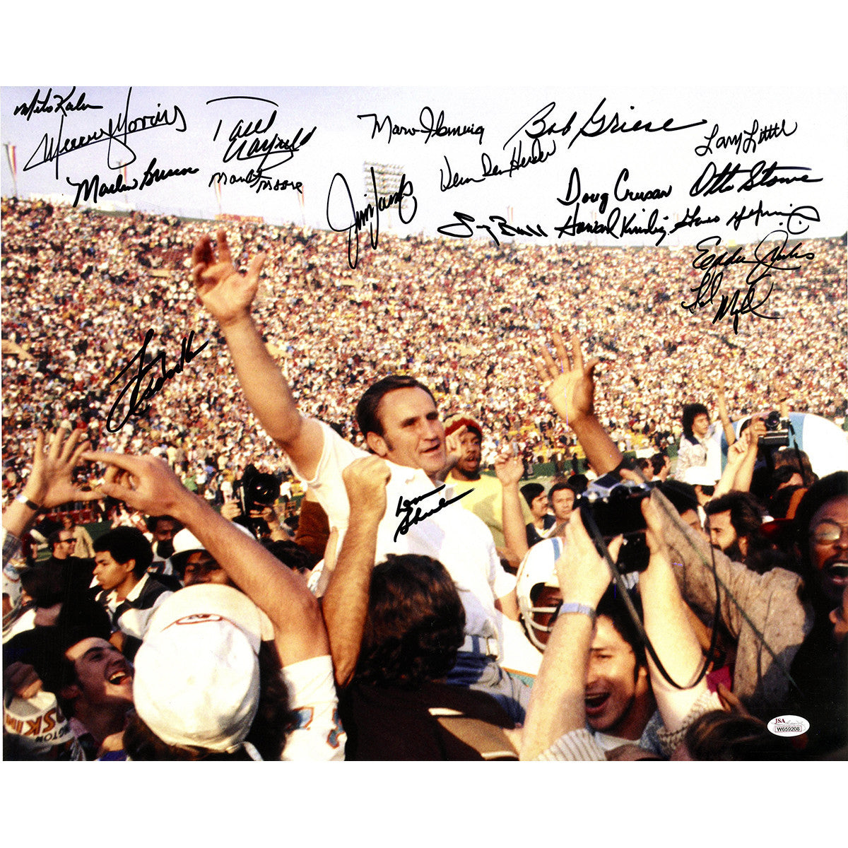 Image of 1972 Dolphins Team Signed 16x20 Photo 19 Sigs JSA