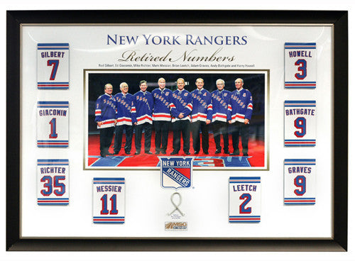 sale retailer 01467 e0776 New York Rangers 8 Retired Numbers Framed 28x40 - Collage with Authentic  Game Used Net