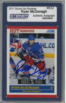 Ryan McDonagh Signed 2010-11 Score Rookie Card  632 (Slabbed by Steiner) 613764012