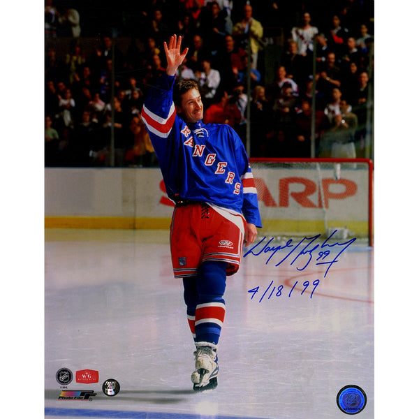 86a79b369 Wayne Gretzky New York Rangers Signed 11x14 Photograph Waving to Fans  During Final Game w