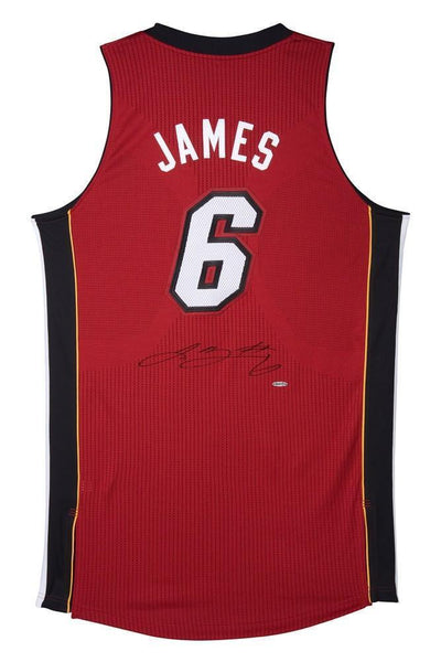 best sneakers fa37f 06f2c Lebron James Autographed Miami Heat Authentic Reebok Red/Alternate Jersey