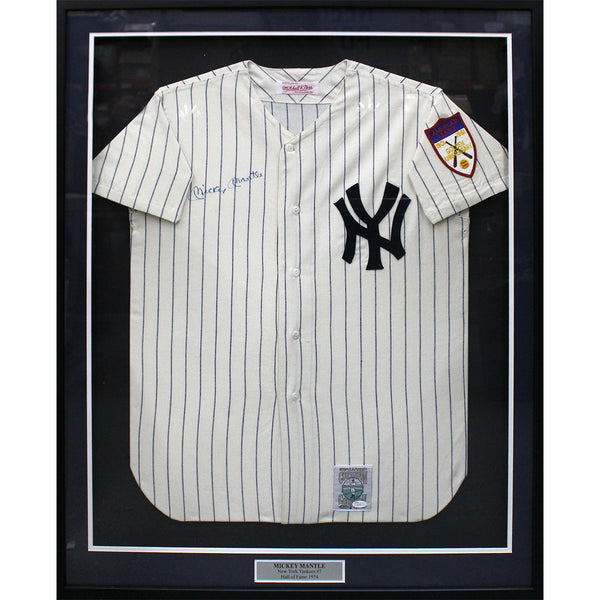 Mickey Mantle Autographed Home Mitchell   Ness Framed Jersey (JSA) –  Steiner Sports 33a58517aeb