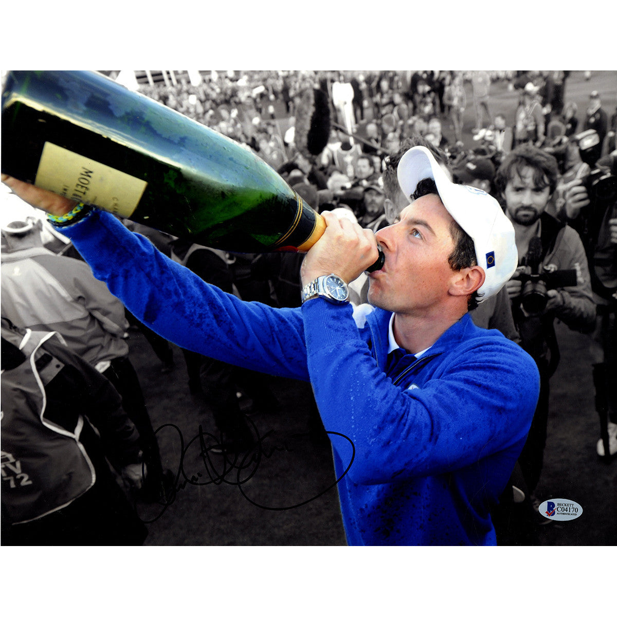 83f5e32a6 Rory McIlroy Signed 11x14 Drinking Champagne Photo Beckett ...