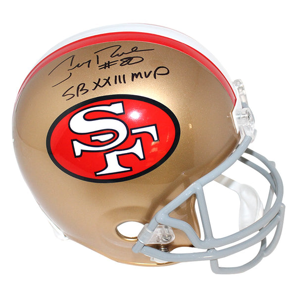 432795bc4 Jerry Rice San Francisco 49ers Signed VSR4 Replica Throwback 64-95 Helmet  w