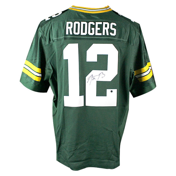new style c8df0 aae8f Aaron Rodgers Green Bay Packers Signed Green Nike Elite Authentic Jersey