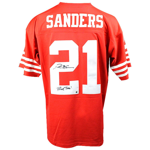 0589d84f6 Deion Sanders Signed San Francisco 49ers Mitchell   Ness Retired Player  Vintage Replica Jersey w