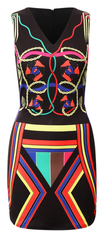 Dresses, Multicoloured Neon Aztec Print Sleeveless Bodycon Dress - IkoChic