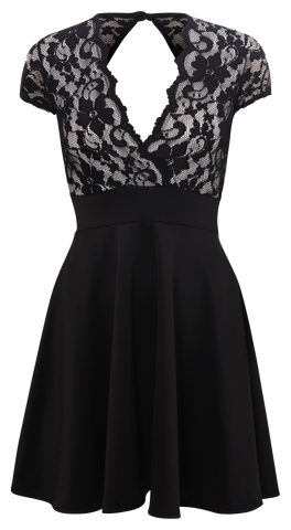 Dresses, Black Floral Lace Short Cap Sleeves Open Back Skater Dress - IkoChic