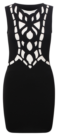 Dresses, Laser Cut Crepe Style Sleeveless Bodycon Dress - IkoChic