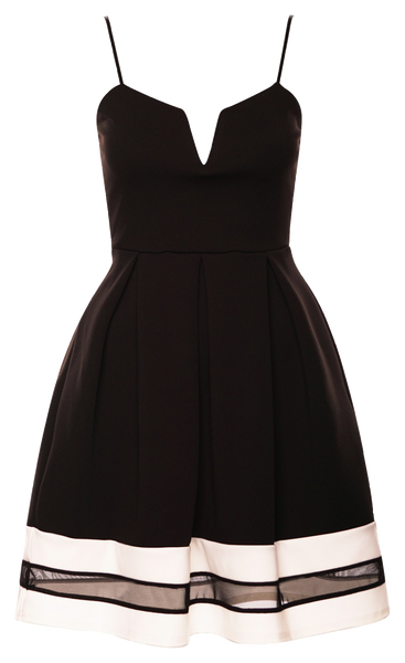 Black Mesh Insert Vintage Skater Dress with Straps
