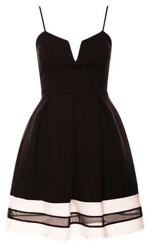 Dresses, Black Mesh Insert Contrast Skater Dress with Strap - IkoChic