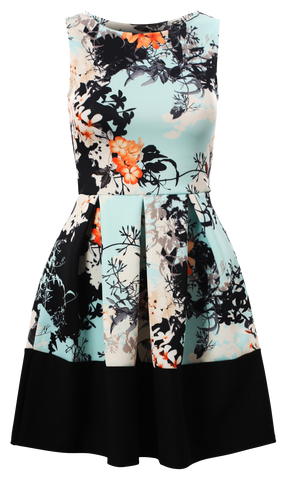 Blue Oriental Floral Print Contrast Sleeveless