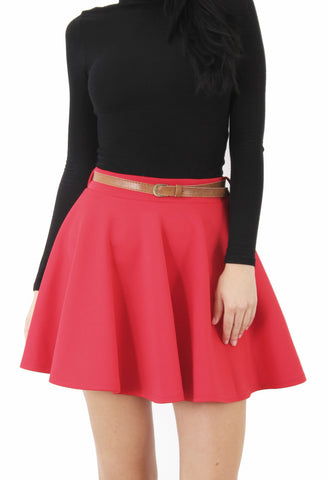 Skirts, Plain Flared Mini Skater Skirt with Belt - IkoChic