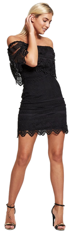 Dresses, Bardot Knitted Lace Dress - IkoChic