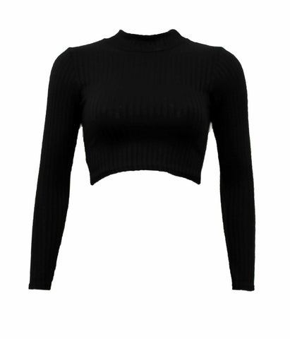 Shirts & Tops, Long Sleeved Turtle Neck Knitted Cropped Top - IkoChic