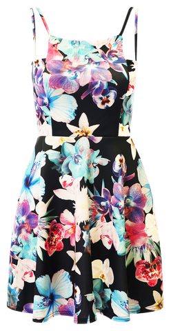 Dresses, Floral Sleeveless Skater Dress - IkoChic