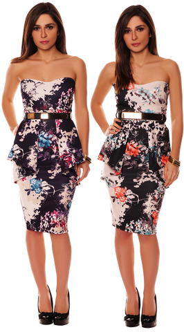 Dresses, Front Pleat Frill Oriental Floral Strapless Dress with a Gold Belt Bandeau - IkoChic