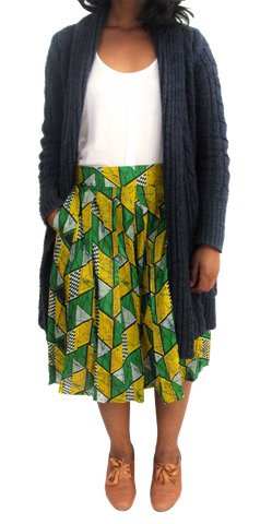 Ethnic Vintage Pleated Kitenge Midi Skirt with Pockets