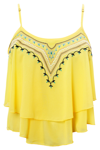Shirts & Tops, Yellow Asymmetric Frill Tribal Embroidery Sleeveless Crop Top - IkoChic