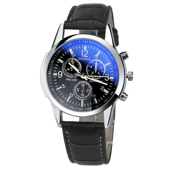 Mens Watch - Geneva -Luxury Faux Leather Band  Wristwatch Waterproof