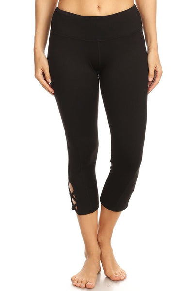 Black High Waisted leggings with a side crisscross strap cutout
