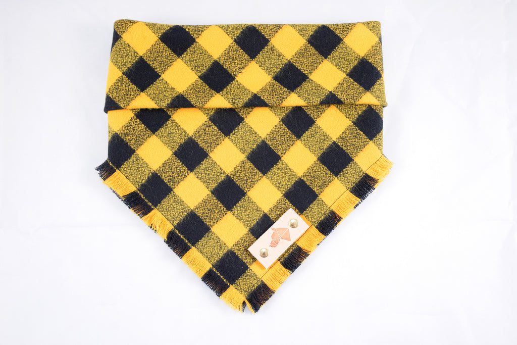 Fringed Flannel Snap Bandana - Yellow/Black
