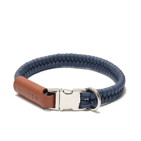 Navy with Silver Hardware Small Clip Collar