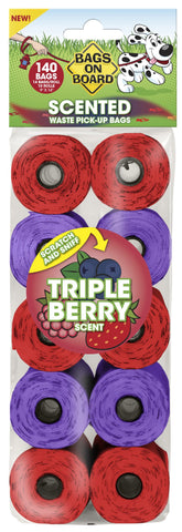 Triple Berry Scented Poo Bags - 140 bags