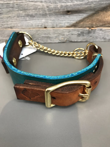 Rohirrim Martingale Collar - Teal & Timber