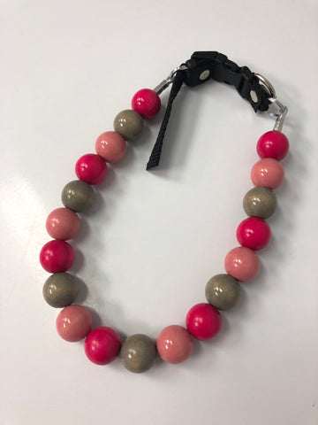 Hot Pink/Grey/Pale Pink Beaded Collar