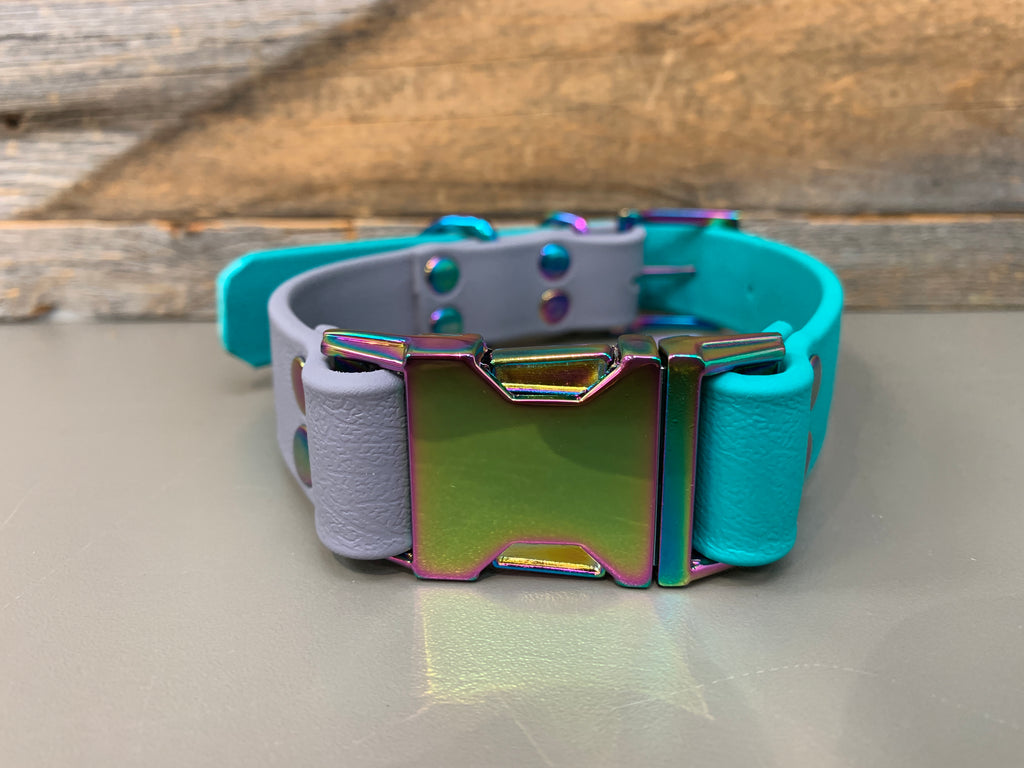 Elessar Quick Release Biothane Collar - Teal & Grey with Gasoline Rainbow Hardware