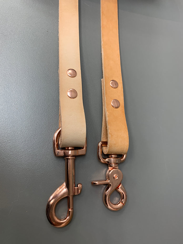 Narrow Leather Leash - Natural Tan w/ Rose Gold Hardware