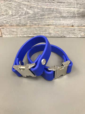 Meriadoc Biothane Bracelet - Royal Blue Nickel