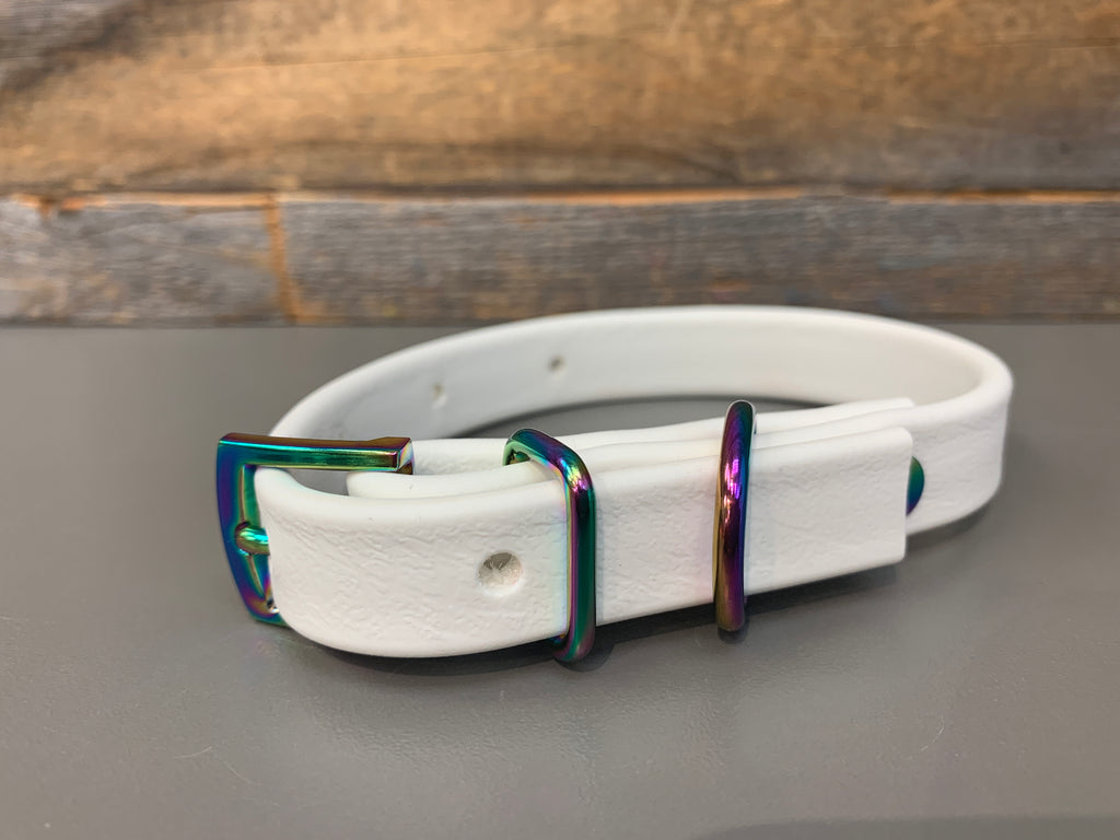 Halfling Biothane Collar - White with Gasoline Rainbow Hardware (X-Small Only)