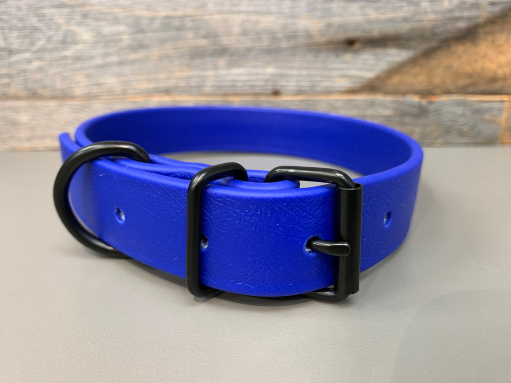Elessar Biothane Collar - Royal Blue with Black Hardware