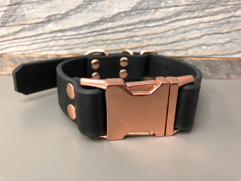 Elessar Quick Release Biothane Collar - Black with Rose Gold Hardware