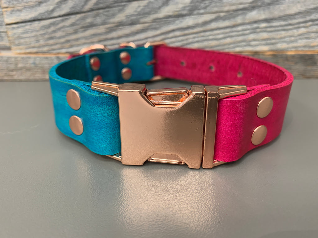 Elessar Quick Release Collar - Teal & Pink w/ Rose Gold Hardware