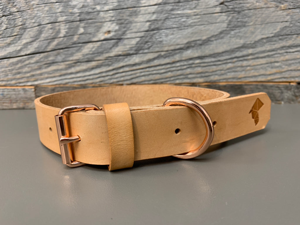 Elessar Buckle Collar - Natural Tan w/ Rose Gold Hardware