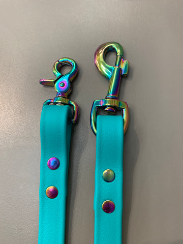 Biothane Leash - Teal with Gasoline Rainbow Hardware