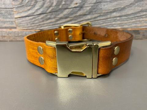 Elessar Quick Release Collar - Yellow & Timber